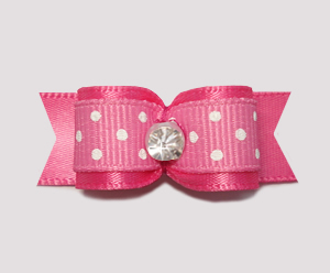 "#0583 - 5/8"" Dog Bow - Sweetheart Dots, Hot Pink, Rhinestone"