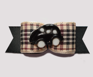 "#0584 - 5/8"" Dog Bow - Classic Designer Plaid, Sporty Black Car"