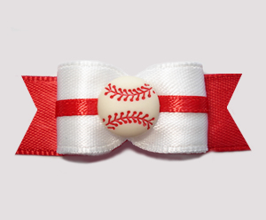 "#0585 - 5/8"" Dog Bow - Baseball, White/Red"