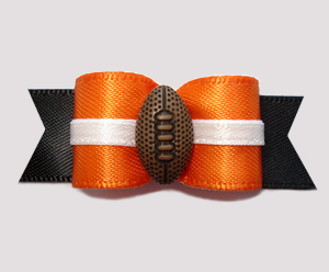 "#0586 - 5/8"" Dog Bow - Football, Orange/Black with White Accent"