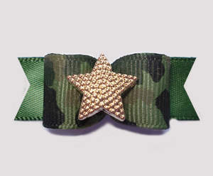 "#0596 - 5/8"" Dog Bow - Camouflage Print on Army Green, Gold Star"