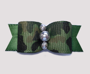 "#0597- 5/8"" Dog Bow- Army Camouflage Print on Army Green, Silver"
