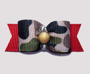 "#0599 - 5/8"" Dog Bow - Tan Camouflage Print on Red, Gold"