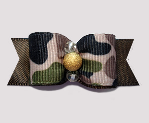 "#0600 - 5/8"" Dog Bow - Tan Camouflage Print on Brown, Gold"