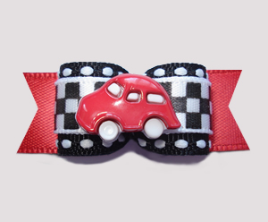 "#0601 - 5/8"" Dog Bow - Race Track Checkered Flag on Red, Red Car"