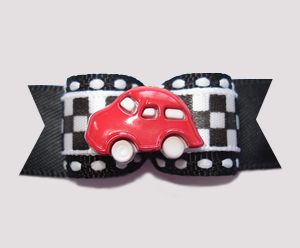 "#0603 - 5/8"" Dog Bow - Race Track Checkered Flag, Red Car"