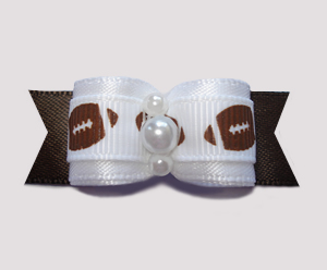 "#0605 - 5/8"" Dog Bow - Let's Play Ball! Footballs on Brown"