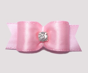 "#0610 - 5/8"" Dog Bow - Satin, Soft Baby Pink, Rhinestone"