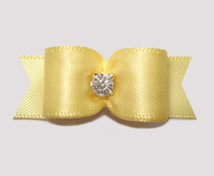 "#0611 - 5/8"" Dog Bow - Satin, Sweet Baby Yellow, Rhinestone"
