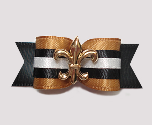 "#0617 - 5/8"" Dog Bow - Fleur de Lis, Old Gold/Black"