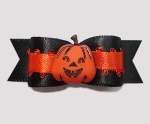 "#0619 - 5/8"" Dog Bow - Happy Pumpkin on Classic Black"