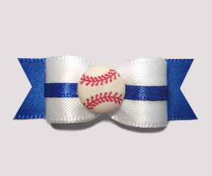 "#0620 - 5/8"" Dog Bow - Baseball, White on Blue"