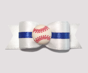 "#0621 - 5/8"" Dog Bow - Baseball, White with Blue"