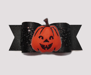 "#0625 - 5/8"" Dog Bow - Gorgeous Glitter, Classic Black, Pumpkin"