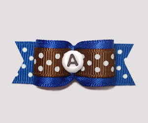 "#0626 - 5/8"" Dog Bow - Custom - Boy Oh Boy, Dots, Choose Letter"