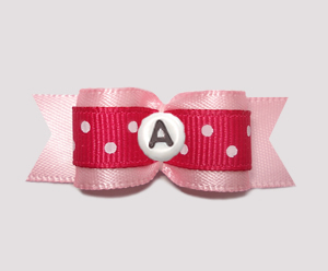 "#0627 - 5/8"" Dog Bow - Custom - Cerise on Pink, Choose Letter"