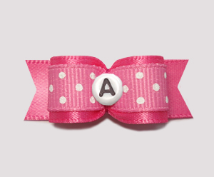 "#0630- 5/8"" Dog Bow- Custom Sweetheart Dots, Pink, Choose Letter"