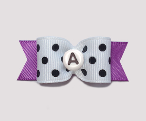 "#0632- 5/8"" Dog Bow- Custom Chic B/W Dots, Orchid, Choose Letter"