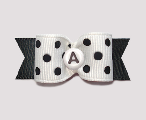 "#0642 - 5/8"" Dog Bow - Custom - Simply Chic Dots, Choose Letter"