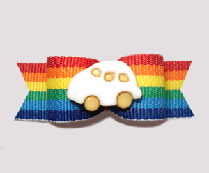 "#0657 - 5/8"" Dog Bow - Cute Bug, Car on Fun Bold Stripes"