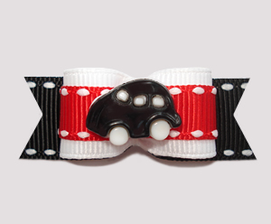 "#0658 - 5/8"" Dog Bow - Vroom Vroom, Black Car on Red/White/Black"