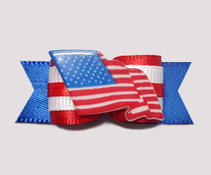 "#0659 - 5/8"" Dog Bow - Red, White & Blue, American Flag"