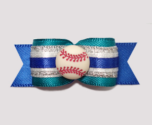 "#0662 - 5/8"" Dog Bow - Baseball, Teal/Silver/Blue"