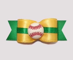 "#0663 - 5/8"" Dog Bow - Baseball, Golden Yellow/Green"
