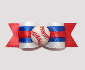 "#0664 - 5/8"" Dog Bow - Baseball, Red/White/Blue"