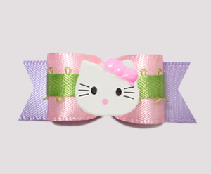 "#0665 - 5/8"" Dog Bow - Baby Pink with Lavender, Little Kitty"