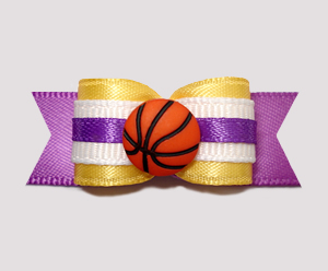 "#0670 - 5/8"" Dog Bow - Basketball, Yellow/Purple"