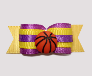 "#0671 - 5/8"" Dog Bow - Basketball, LA Lakers Colors"