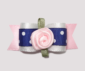 "#0674 - 5/8"" Dog Bow- Cute Blue/White Dots, Pink Sweetheart Rose"