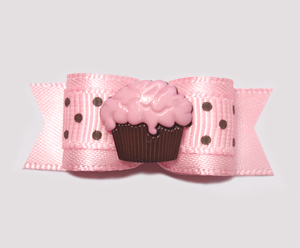 "#0675 - 5/8"" Dog Bow - Sweet Little Cupcake, Pink/Chocolate"