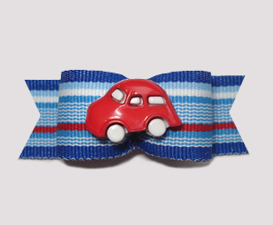"#0679- 5/8"" Dog Bow - Vroom Vroom Red Car, Red & Blue Stripes"
