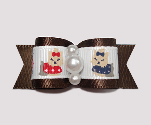 "#0682 - 5/8"" Dog Bow - Darling Yorkies on Brown Satin, Pearls"