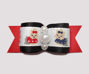 "#0687 - 5/8"" Dog Bow- Darling Yorkies, Black/Red Satin, Pearls"