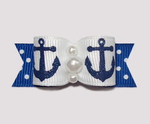 "#0691 - 5/8"" Dog Bow - Sparkly Navy Anchors on Blue/White Dots"