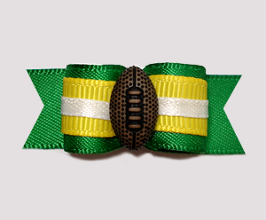 "#0692 - 5/8"" Dog Bow - Football, Dark Green & Yellow"