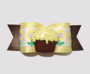 "#0702 - 5/8"" Dog Bow - Sweet Cupcake made with Flower"