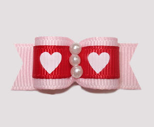 "#0705 - 5/8"" Dog Bow - Sweetheart Pink, Red & White, Faux Pearls"
