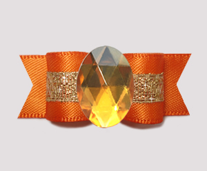 "#0710 - 5/8"" Dog Bow - Bling Fun, Orange Satin w/Sparkle"