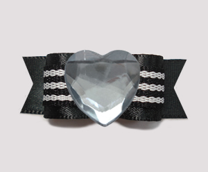 "#0715 - 5/8"" Dog Bow - Bling Fun, Cool Black Satin w/Heart"