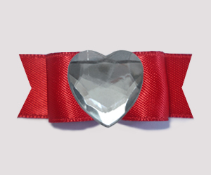 "#0716 - 5/8"" Dog Bow - Bling Fun, Rich Red Satin w/Heart"