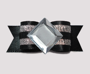 "#0722- 5/8"" Dog Bow- Bling Fun, Classic Black & Silver, Diamond"