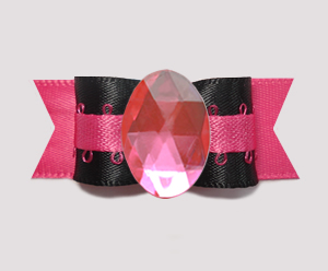 "#0729 - 5/8"" Dog Bow - Bling Fun, Unique, Black/Hot Pink"