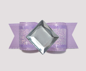 "#0732 - 5/8"" Dog Bow - Bling Fun, Lavender Shimmer, Diamond"