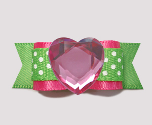 "#0733 - 5/8"" Dog Bow- Bling Fun, Pink & Green w/Dots, Pink Heart"