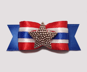 "#0735- 5/8"" Dog Bow - Independence Day, Red/White/Blue with Star"