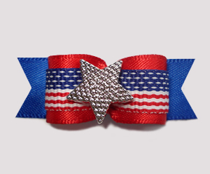 "#0736 - 5/8"" Dog Bow - Patriotic Stars & Stripes with Star"